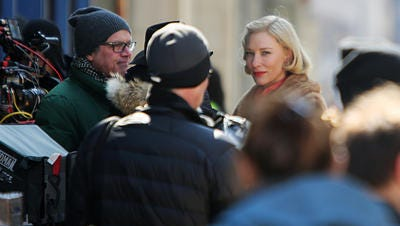 """Cate Blanchet prepares to film a """"Carol"""" scene in Over-the-Rhine March 25."""