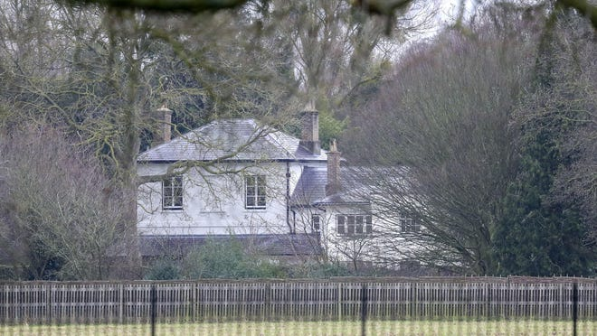 FILE - In this Jan. 14, 2020 file photo, a general view of Frogmore Cottage on the Home Park Estate, Windsor. Prince Harry has repaid 2.4 million pounds ($3.2 million) in British taxpayers' money that was used to renovate the home intended for him and his wife Meghan before they gave up royal duties. A spokesman on Monday, Sept. 7, 2020 Harry has made a contribution to the Sovereign Grant, the public money that goes to the royal family.