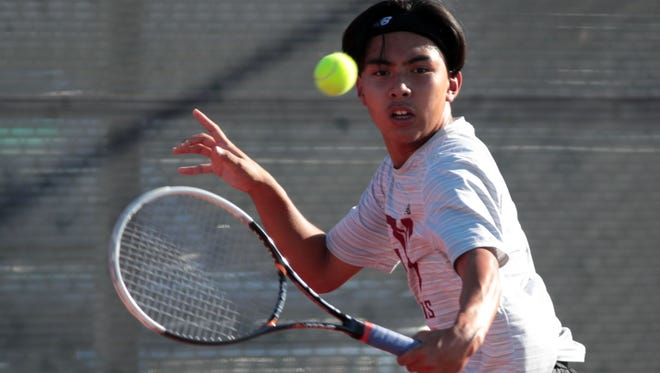 Rancho Mirage's Carter Victorio plays his CIF match against Segerstrom on Wednesday, May 9, 2018 in Rancho Mirage.