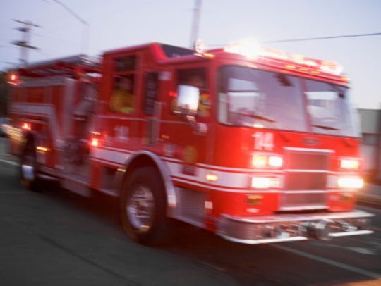 Fire engine on street