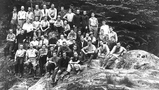 Carl Schenck at Sunburst, which is now Lake Logan, with an early class of forestry students.