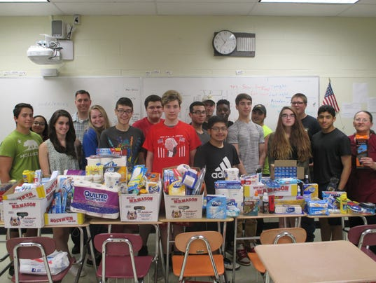 Students donate supplies to troops PHOTO CAPTION