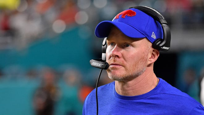 Buffalo Bills head coach Sean McDermott looks on in the game against the Miami Dolphins during the second half at Hard Rock Stadium.