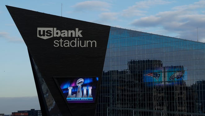 U.S. Bank Stadium is seen Wednesday, Jan. 31, 2018, in Minneapolis. The NFL Super Bowl 52 football game will be played Sunday, Feb. 4, 2018.