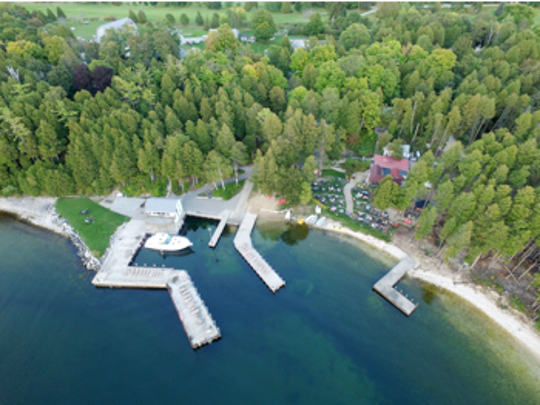 Aerial view of Little Sister Resort, Sister Bay, which