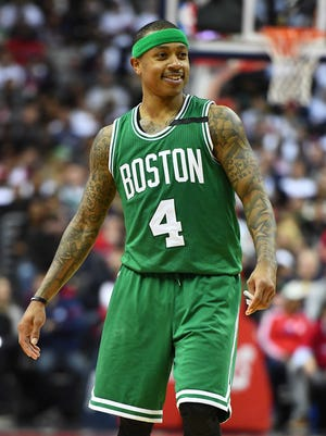 Boston Celtics guard Isaiah Thomas (4) reacts after receiving a technical foul against the Washington Wizards during the fourth quarter in Game 4 of the second round of the 2017 NBA Playoffs at Verizon Center.