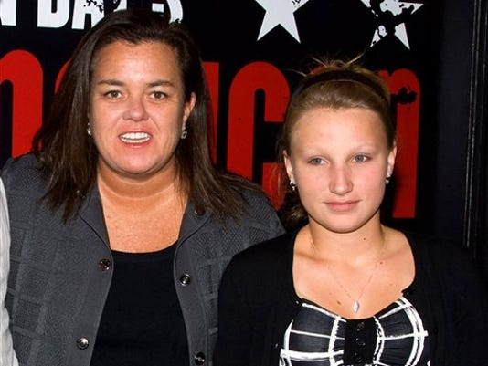 "FILE - In this April 20, 2010 file photo, Rosie O'Donnell, left, poses with her daughter Chelsea at the opening night performance of the Broadway musical ""American Idiot"" in New York."