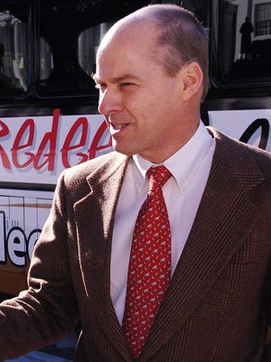 Randy Brinson, chairman of the board of Redeem the Vote, talks with press members following a conference in front of the Alabama Capitol in downtown Montgomery, Ala. on Dec. 17, 2007.