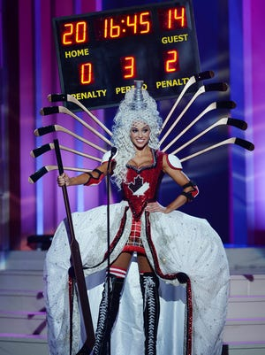 Miss Canada Chanel Beckenlehner participates in  the 63rd Annual Miss Universe Preliminary Show at Florida International University on January 21, 2015 in Miami, Florida.