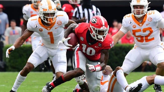 Georgia receiver Kearis Jackson (10) during the Bulldogs' game with Tennessee in Athens, Ga., on Saturday, Oct. 10, 2020..