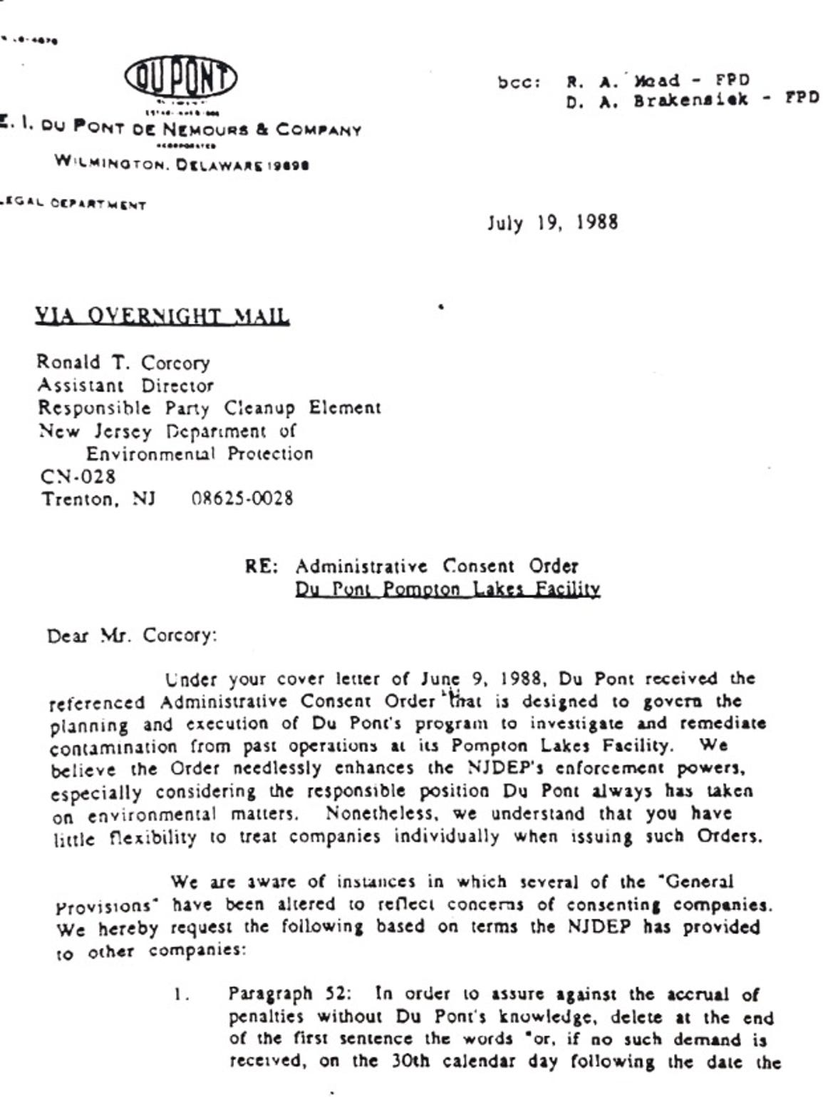 A 1988 letter to the state DEP in which DuPont objected to the controls the state was requiring over contamination cleanup.