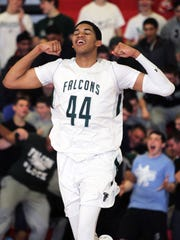 Karl-Anthony Towns celebrates playoff win over Paul VI  during NJSIAA Tournament of Champions title run