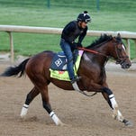 Kentucky Derby contender Brody's Cause trains at Churchill Downs.
