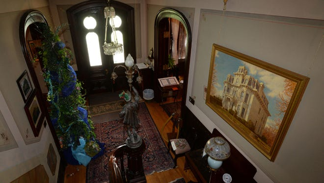 The front stairway of the Gaar Mansion & Farm Museum in Richmond.