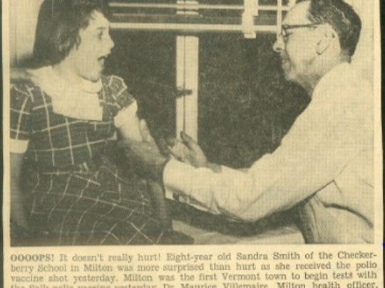 This photo from the Burlington Free Press in May 1954 shows Dr. Maurice Villemaire giving Dr. Jonas Salk's world-famous polio vaccine to a young patient. Villemaire practiced in Milton from 1931 until 1972. Thirty-seven grade school children in Milton were the first in Vermont to be inoculated with the vaccine.