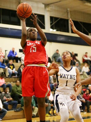 Canton's Shamya Butler takes aim at the basket Friday. Defending for Wayne Memorial is Jeanae Terry (1).