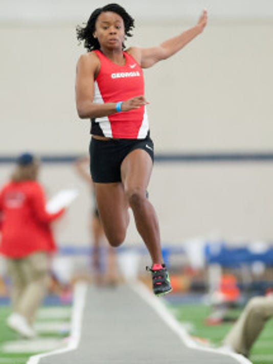 Keturah Orji, a Mount Olive alumna, competes for Georgia at the Rod McCravy Memorial in Lexington, Ky. Photo by Elliott Hess
