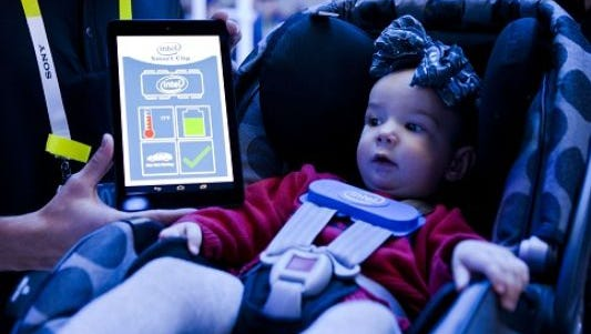The Intel Smart Clip is designed to notify caregivers when a child is accidentally left behind in a car that's getting hot.