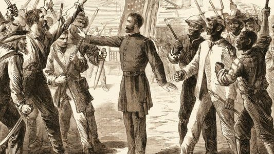 An engraving shows an agent from the Freedmen's Bureau as he separates two groups of armed men, one white and the other slaves, in 1868.