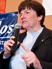 State Treasurer Beth Pearce speaks in Burlington in 2012.