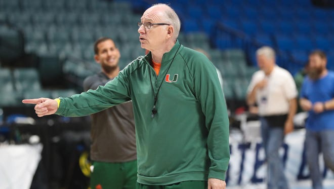 Mar 16, 2017; Tulsa, OK, USA; Miami Hurricanes head coach Jim Larranaga during practice at BOK Center. Mandatory Credit: Brett Rojo-USA TODAY Sports