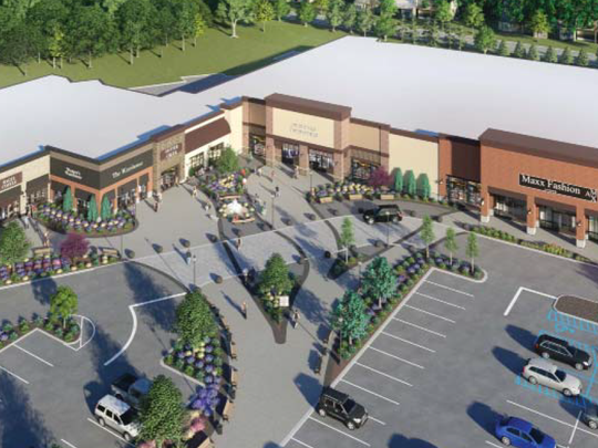 A rendering of what the courtyard and storefronts at the proposed town center in Middletown may look like.