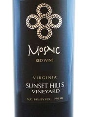 Sunset Hills Vineyard Mosaic is a solid example of Virginia wine. It would pair well with pork, grilled meats, chicken thighs and roast duck.