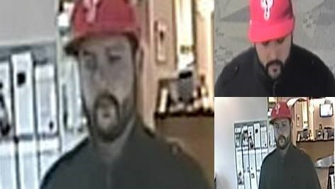 Evesham Police have released these surveillance photos of a man who held up two local banks in five days.