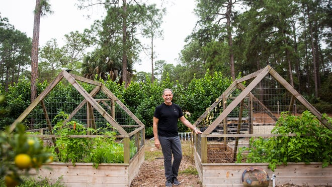 """Naples resident Christopher Carnick stands in his 3-acre retreat, Pirate Palms, on Friday, Jan. 13, 2017, in Golden Gate Estates. The """"edible landscape"""" of Pirate Palms help to teach guests about healthy eating and exercise."""
