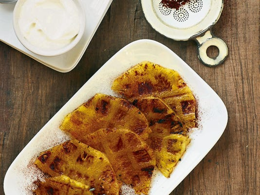 Waffled pineapple slices.