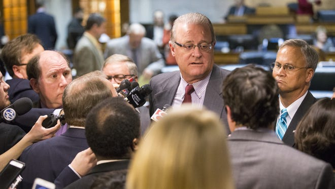 Senate President David Long talks with media members after the death of Senate Bill 344, which proposed protections for gays and lesbians along with a number of religious exemptions.