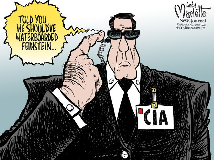 "In this cartoon by Andy Marlette, a CIA agent gets commentary from a superior through his earpiece: ""Told you we should've waterboarded (Sen. Dianne) Feinstein,"" D-Calif. The head of the Senate Intelligence Committee accused the spy agency of improperly searching a congressional database.(Gannett, Andy Marlette/Pensacola (Fla.) News Journal)"