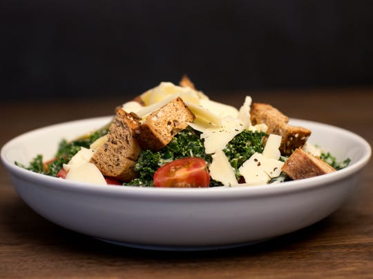 Good Greens is a fresh kale Caesar salad with baby tomatoes, Parmesan and warm whole-grain croutons served at Knoxville Farmacy, 9430 S. Northshore Drive