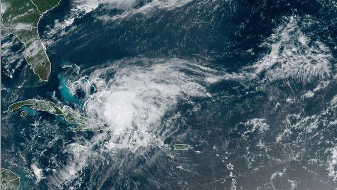 NOAA satellite imagery shows Hurricane Isaias heading toward the east coast of Florida.