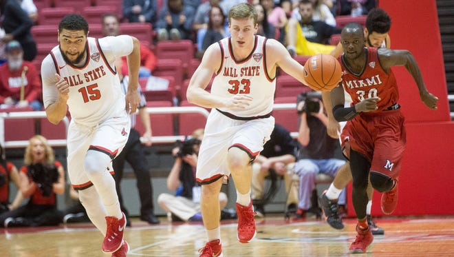 Franko House (15) and Ryan Weber (33), two of Ball State's three seniors, will take over leadership roles this season.