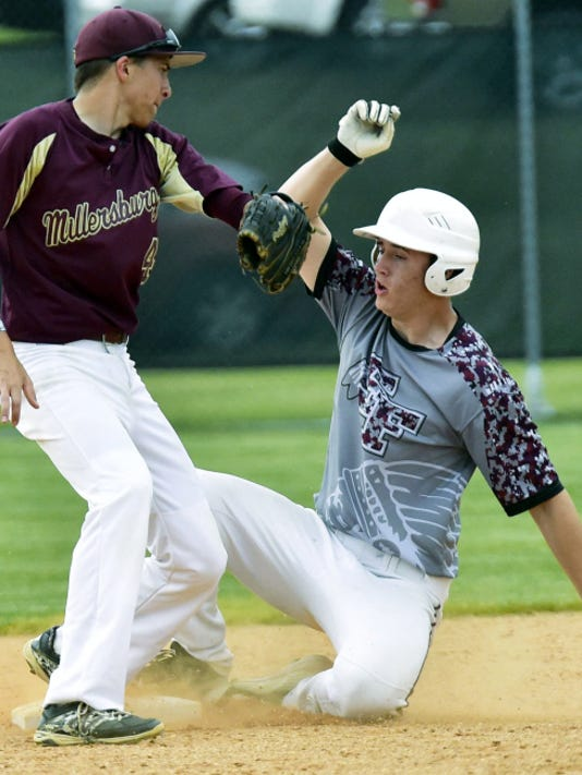 Southern Fulton's Dillan Lashley, right, makes a play in the first round of states. Lashley and the Indians will face Lancaster County Christian on Monday at Northern York at 4 p.m. in the PIAA Class A semifinals.