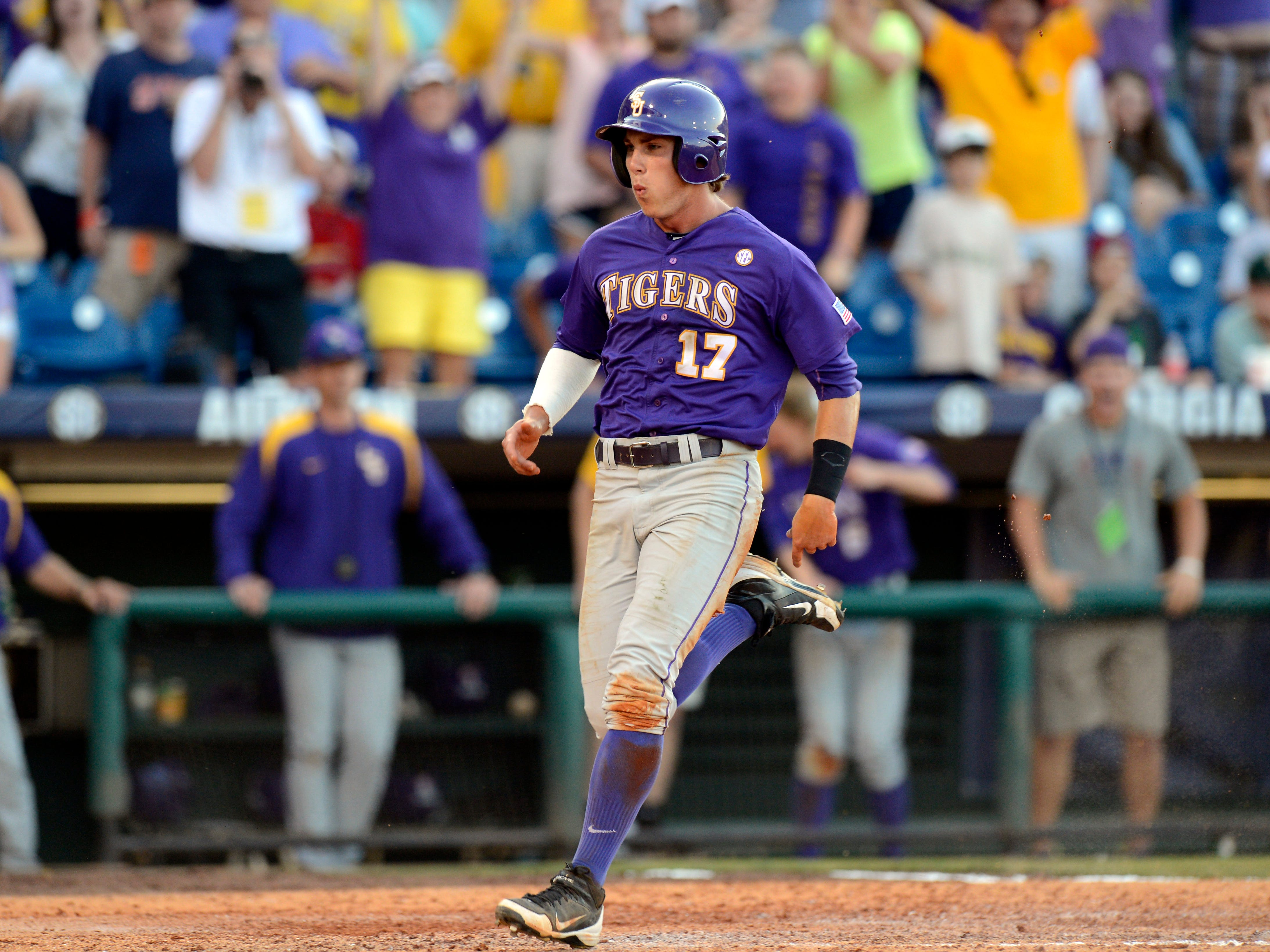 LSU Tigers baserunner Jared Foster (17) has been reinstated to the team.
