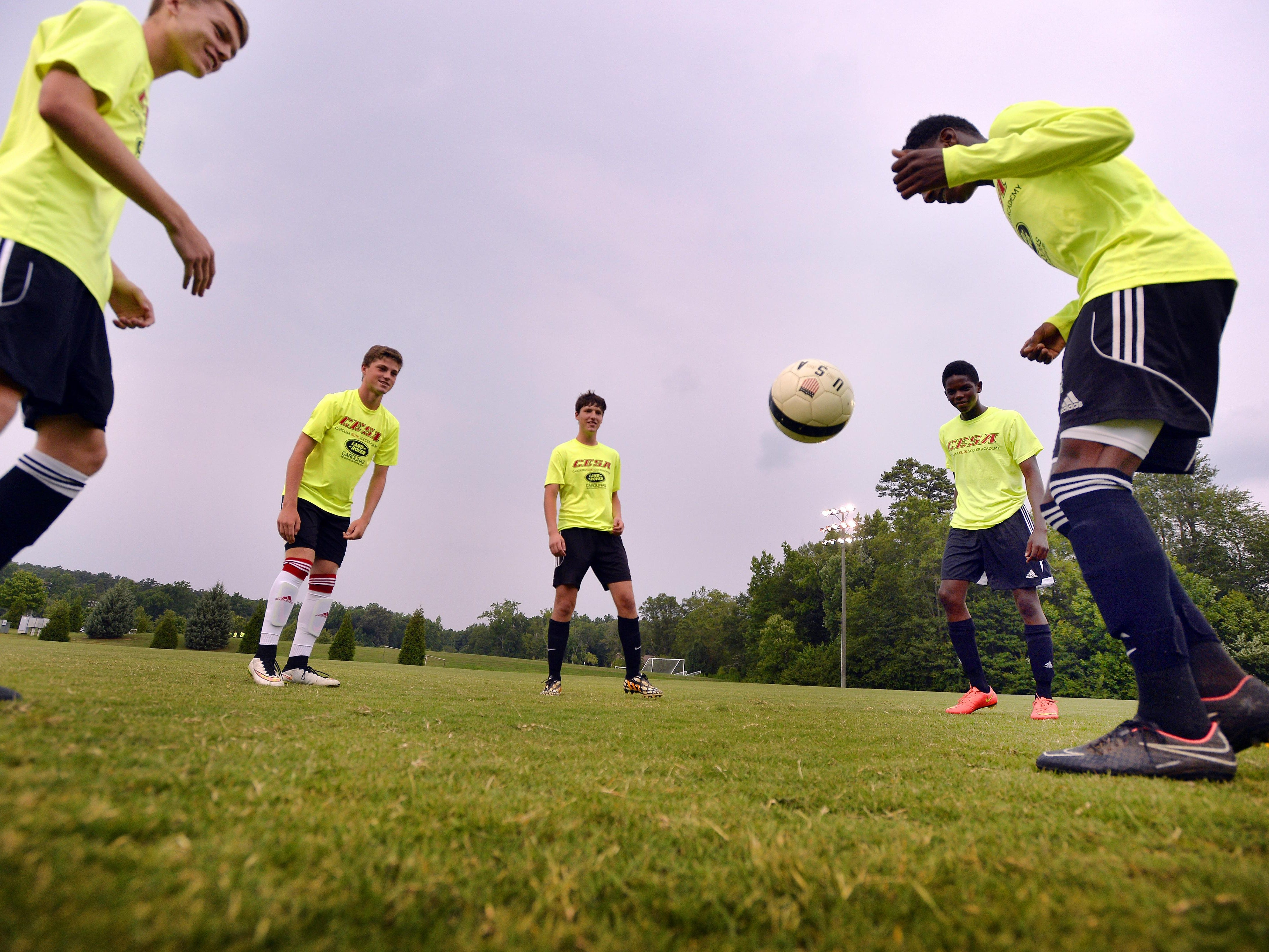 Members of the CESA 98 soccer team practice at the Wenwood Soccer Complex on Wednesday.