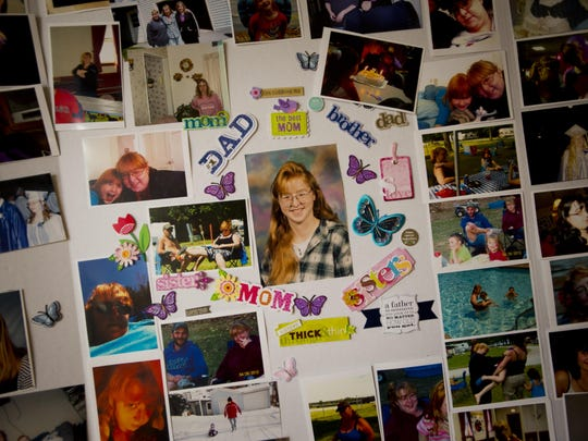 Photos of Anna Alger decorate a poster board at her funeral at the Kidder Memorial Home in Swanton Tuesday morning. This photo was taken with express permission of Alger's family.