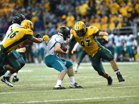 North Dakota State defensive end Brad Ambrosius made 27 tackles and 21/2 sacks last season as a sophomore. The West De Pere alum will be stepping into a starting role this year for the Bison.