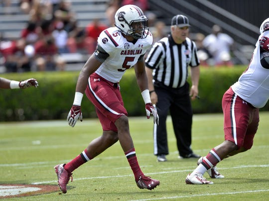 South Carolina defensive end Darius English (5) waits on a snap during the Garnet & Black Spring Game at Williams-Brice Stadium on April 11, 2015.