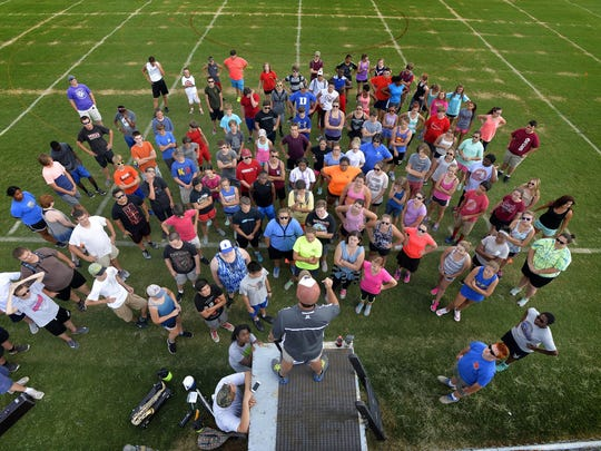 The Byrnes High School Rebels marching band practices after school on Tuesday, August 25, 2015.