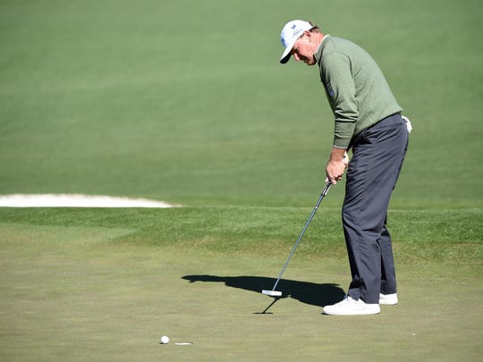 Ernie Els needed 68 putts during his first two rounds at the Masters Tournament.