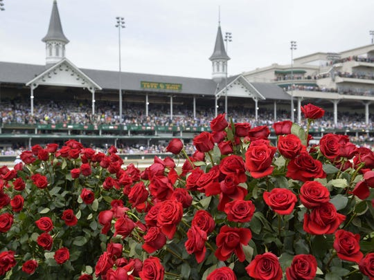 May 7, 2016; Louisville, KY, USA; General view of roses and the twin spires before the 142nd running of the Kentucky Derby at Churchill Downs. Mandatory Credit: Jamie Rhodes-USA TODAY Sports