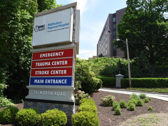 The sign in front of MidHudson Regional Hospital on North Road in Poughkeepsie is shown in this June file photo.