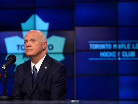 FILE - In this July 23, 2015 file photo, Lou Lamoriello speaks at a news conference in Toronto.  Lamoriello and Mike Babcock were hired a year ago to restore the Toronto Maple Leafs' long-lost luster. The next step in the once-iconic franchise's rebuilding plan takes place on Friday, June 24, 2016 when the Maple Leafs are expected to pin their hopes on Arizona-born center, Auston Matthews, with the first pick in the NHL draft. (Galit Rodan/The Canadian Press via AP, file)     MANDATORY CREDIT