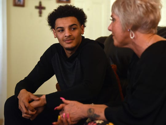 Tyler Smith and his mother Liz Smith sit down for an interview at their home in Richmond.