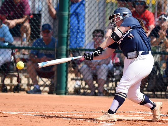 Aucilla Christian's Ashlyn Rogers takes a swing at a pitch Wednesday, May 17, 2017 during a semifinal game against Glades Day at the FHSAA Softball Championships at Historic Dodgertown in Vero Beach. Aucilla won the game 5-0.
