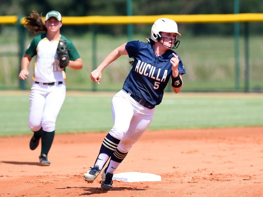 Aucilla Christian's Ramsey Sullivan makes her way around second base Wednesday, May 17, 2017 during a semifinal game against Glades Day at the FHSAA Softball Championships at Historic Dodgertown in Vero Beach. The Warriors won the game 5-0 to advance to the state title game.