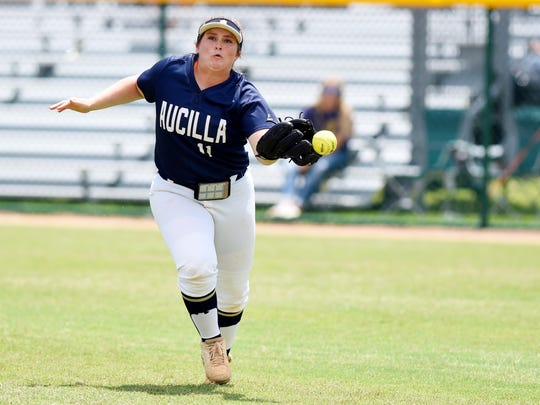 The ball skips off the glove of Aucilla Christian's Ashlyn Rogers on Thursday, May 18, 2017, during the state title game against Canterbury during the FHSAA Class 2A state championship at Historic Dodgertown in Vero Beach. The Warriors lost 2-1 in nine innings.